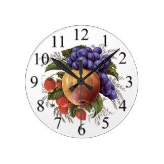Racimo de fruta reloj redondo mediano