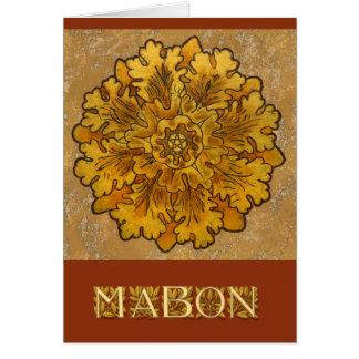 Racimo de hojas de roble redondo de Mabon Tarjeta Pequeña