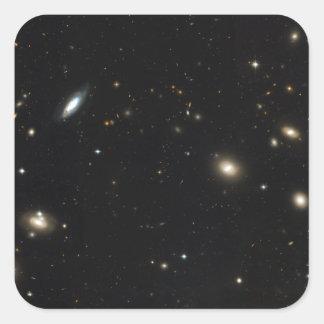 Racimo de la coma de galaxias pegatina cuadrada