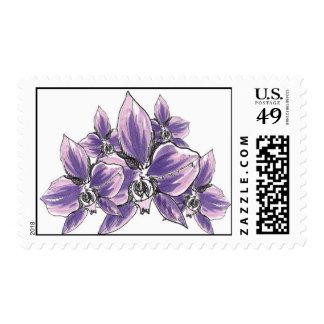 Racimo de la orquídea (púrpura) timbre postal