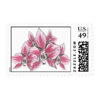 Racimo de la orquídea (rosa) timbres postales