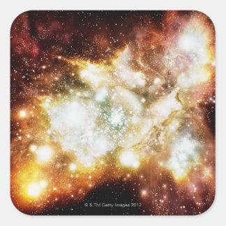 Racimo estupendo del nacimiento de la estrella calcomanías cuadradas personalizadas