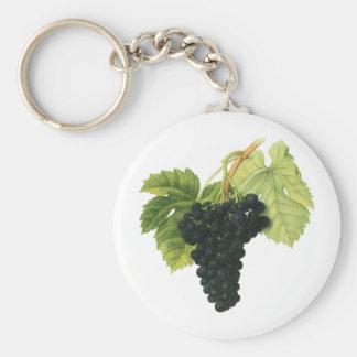 Racimo orgánico de la uva del vino rojo del llavero redondo tipo pin