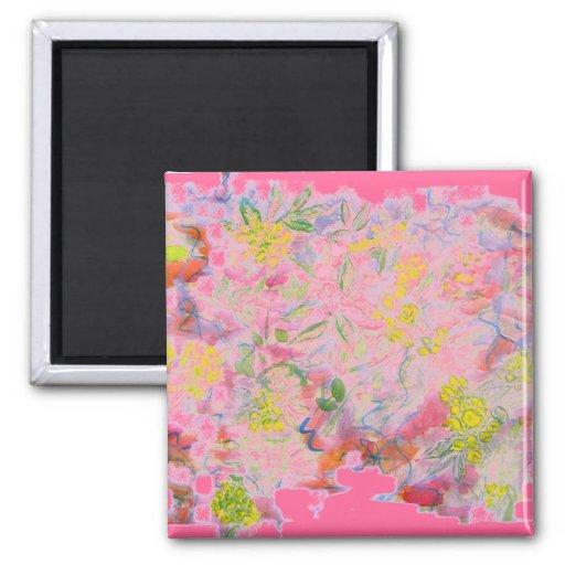 racimos de flor en colores pastel imán cuadrado
