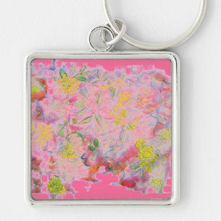 racimos de flor en colores pastel llavero cuadrado plateado