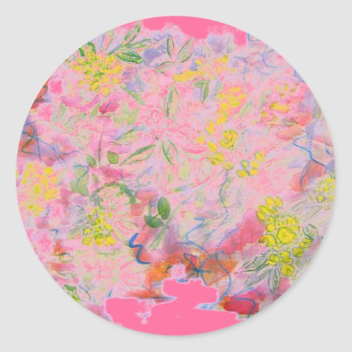 racimos de flor en colores pastel pegatinas redondas