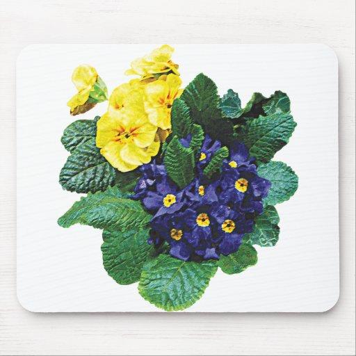 Racimos de primaveras púrpuras y amarillas alfombrillas de raton