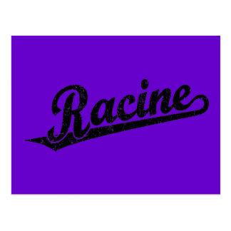 Racine script logo in black distressed postcards