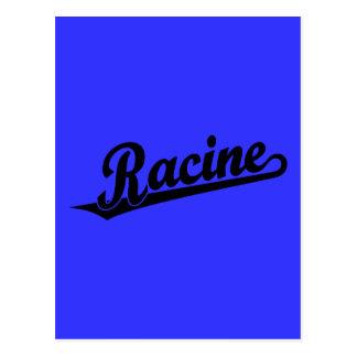 Racine script logo in black postcard