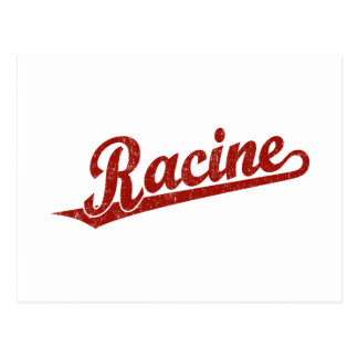 Racine script logo in red distressed postcard