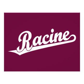 Racine script logo in white flyer