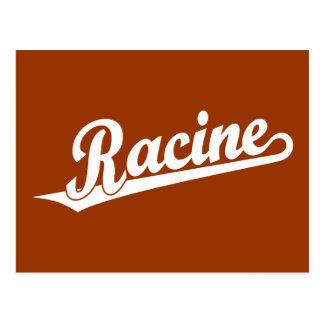 Racine script logo in white post cards