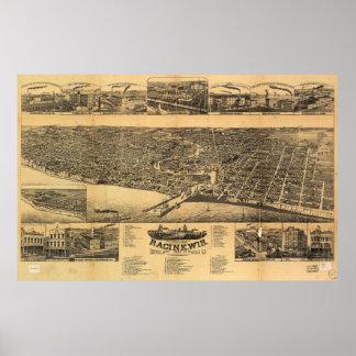 Racine Wisconsin county seat of Racine County 1883 Poster