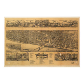 Racine Wisconsin county seat of Racine County 1883 Wood Wall Art