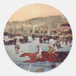 Racing at the Bois de Boulogne - Edouard Manet Classic Round Sticker