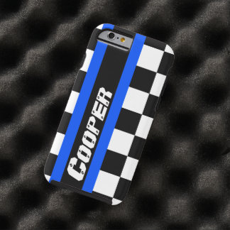 Racing auto sports chequered blue name iphone case tough iPhone 6 case