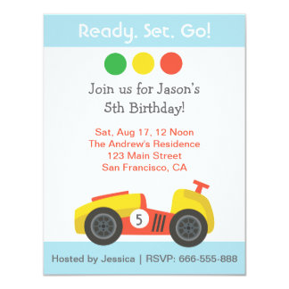 Racing Birthday Theme Party Card