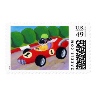 Racing Black Lab Stamp