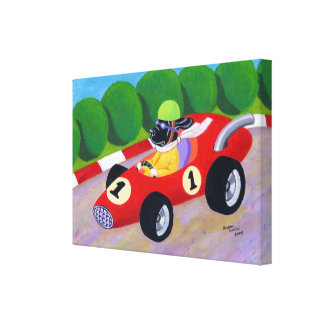 Racing Black Labrador Artwork Canvas Print