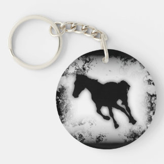 Racing Black&White Western-style Horse Silhouette Single-Sided Round Acrylic Keychain