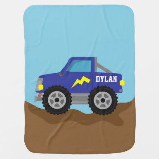 Racing Blue Monster Truck, for Baby Boys Stroller Blanket