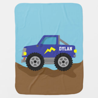Racing Blue Monster Truck, for Baby Boys Swaddle Blanket
