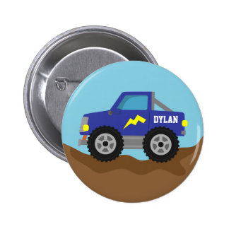 Racing Blue Monster Truck for Boys Buttons