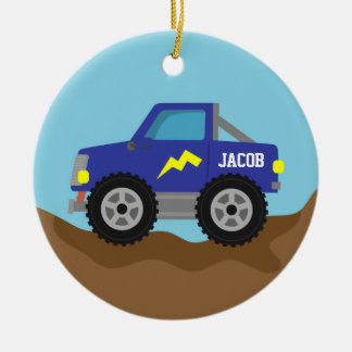 Racing Blue Monster Truck, for Boys Ceramic Ornament