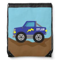 Racing Blue Monster Truck, for Boys Drawstring Bag