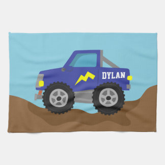 Racing Blue Monster Truck, for Boys Kitchen Towel