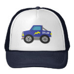 Racing Blue Monster Truck, for Boys Mesh Hats