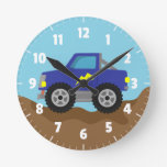 Racing Blue Monster Truck, for Boys Room Clocks