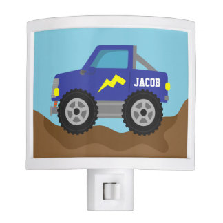 Racing Blue Monster Truck, for Boys Room Night Light