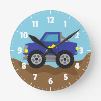Racing Blue Monster Truck, for Boys Room Round Clock