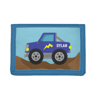 Racing Blue Monster Truck, for Boys Trifold Wallet
