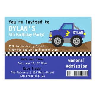 Racing Blue Monster Truck Party, Admission Ticket Custom Invites