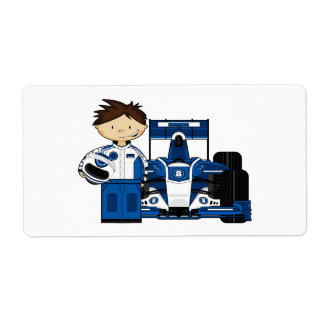 Racing Car and Driver Sticker Label