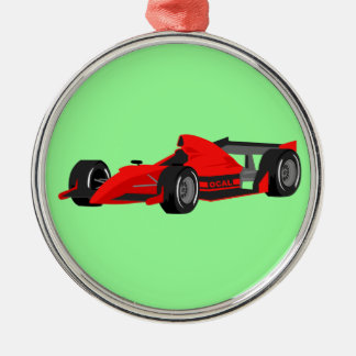 racing car Baubles ornement Round Metal Christmas Ornament