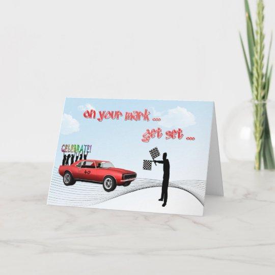 Racing Car Birthday Card Zazzle Com