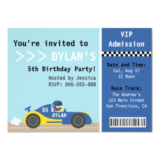 Racing Car, Birthday Party, Boys Admission Ticket Custom Invite