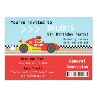 Racing Car, Birthday Party, Boys Admission Ticket 4.5x6.25 Paper Invitation Card
