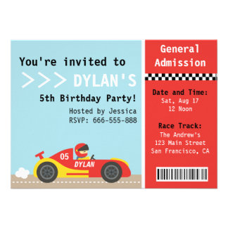 Racing Car Birthday Party Boys Admission Ticket Personalized Invites