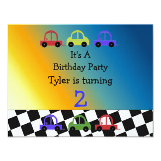 Racing Car Checkered Border Birthday Invitation