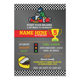 Racing Car Go Karting Kart Birthday Party Invite