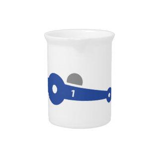 Racing car illustration printed on t-shirts beverage pitcher