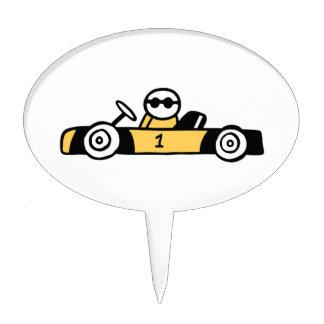 Racing car illustration printed on t-shirts cake topper