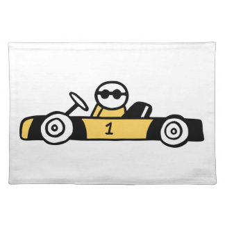 Racing car illustration printed on t-shirts cloth placemat
