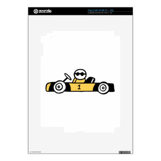 Racing car illustration printed on t-shirts decals for iPad 2