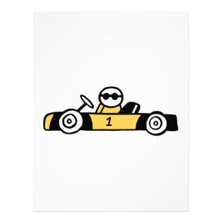 Racing car illustration printed on t-shirts letterhead
