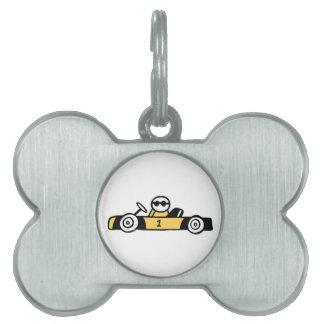Racing car illustration printed on t-shirts pet ID tag